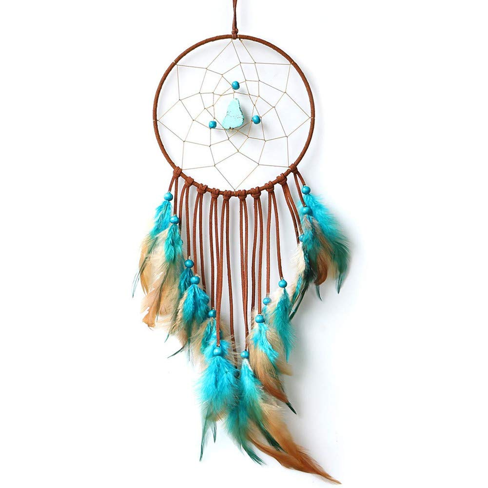 Dremisland Indian Blue and Brown Turquoise Dream Catcher Wind Chimes Feather Pendant Wall Hanging Home Decoration Craft Gift