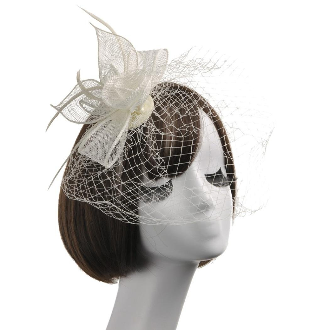 Wensltd Women Elegant Feather Fascinators Top Hat Flower Cocktail Tea Party Headwear (Beige)