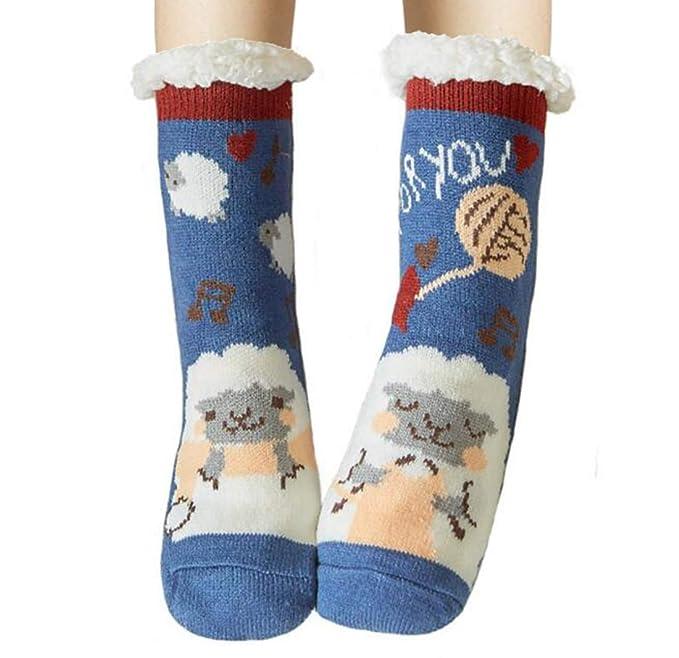 ada44e437 Ladies Girls Warm Winter Slipper Socks Fluffy Super Soft Animal Fleece  Lined Non Slip Home Socks