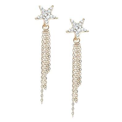 53d30a1c7 Idin Jewellery - Diamante crystal pave star with dangle tassel chain drop  clip on earrings: Amazon.co.uk: Jewellery