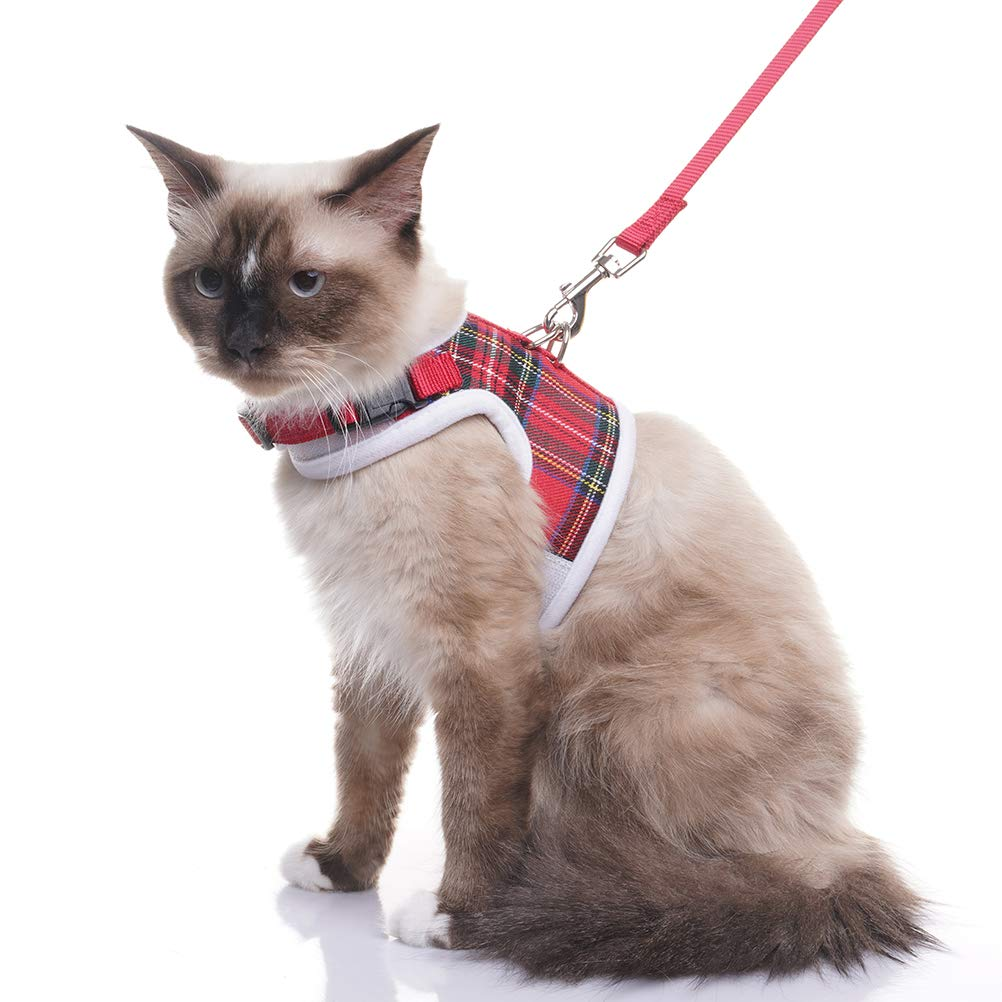 EXPAWLORER Escape Proof Cat Harness with Leash- Soft Mesh Classic Plaid Cat Harness Vest for Cats and Small Dogs Walking L
