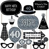 Adult 40th Birthday - Silver - Photo Booth Props Kit - 20 Count