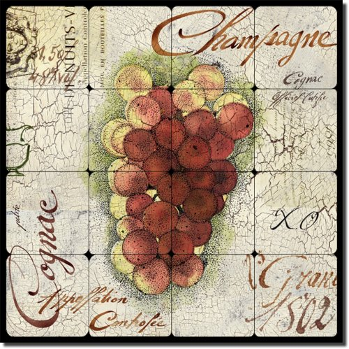 - Grapes II by Louise Montillio - Wine Tumbled Marble Tile Mural 16