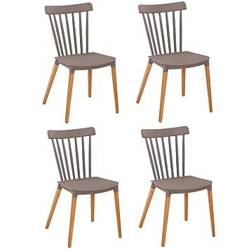 Lot De 4 Chaises A Barreaux Design Scandinave Iconic Gris Mat Pietement Chene Clair
