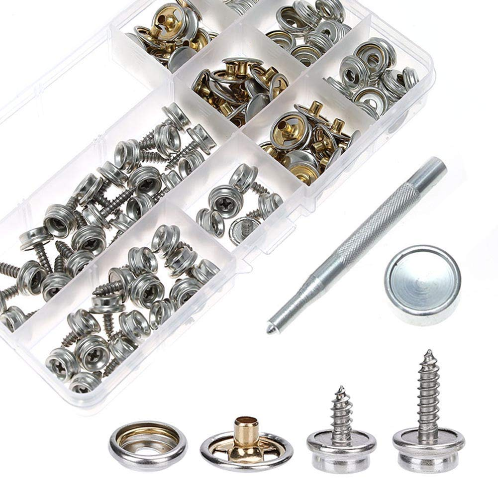 Chenkaiyang 120-Pieces Silver Stainless Steel Marine Grade Canvas and Upholstery Boat Cover Snap Button Fastener Kit with 2Pcs Setting Tool 40 Sets