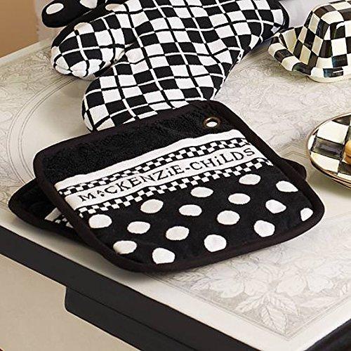 MacKenzie-Childs Cotton Kitchen Pot Holders – Hot Pot Holder Oven Pads – Black and White Polka Dot Pot Holders – Set of 2