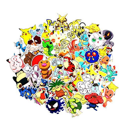 Baybuy Laptop Stickers Pack Stickers Pikachu Decals Cool Cartoon Stickers for Skateboard Guitar Bicycle Luggage (80pcs)
