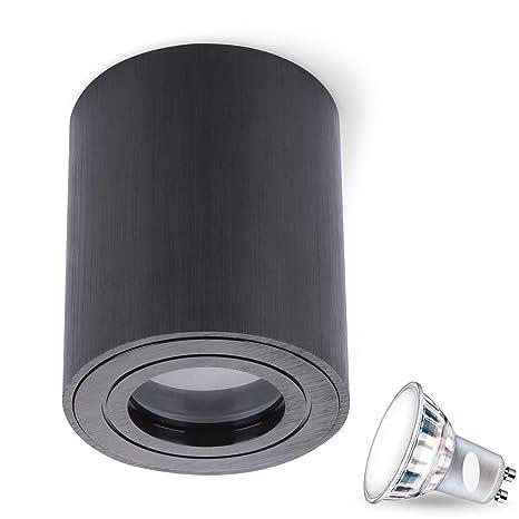 JVS Aufbauleuchte Aufbaustrahler Deckenleuchte Aufputz MILANO IP44 5W LED Neutralweiss GU10 Fassung 230V quadrat weiss Strahler Deckenlampe Aufbau-lampe Downlight aus Aluminium
