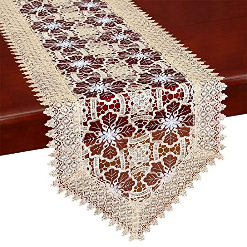 Simhomsen Embroidered Burgundy Lace Table Runners And Dresser Scarves 16 By 72 Inch