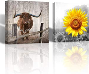 Canvas Wall Art Bathroom Decor Sunflower and Texas Longhorns Themed Pictures Size 14x14 inches Each Panel