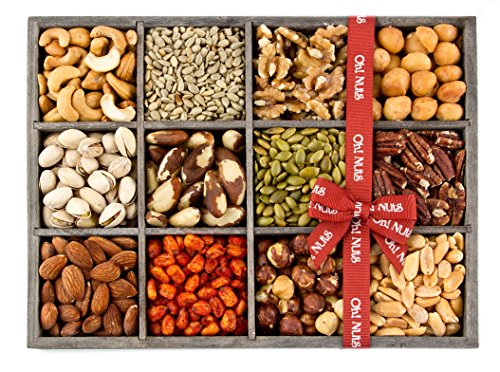 Gift Baskets, Mixed Nuts Gift Baskets and Seeds Valentine Gift Tray 12 Variety Gift Baskets, Freshly Roasted Snack Healthy Gift Box for Men - Oh! Nuts (Holiday Gift Tray)