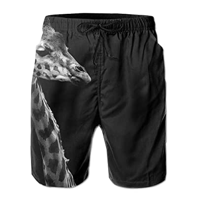 POOP LOOL Men's Giraffe Beach Short Pant Swimming Pants Sandy Sport Pants with Pockets for Summer