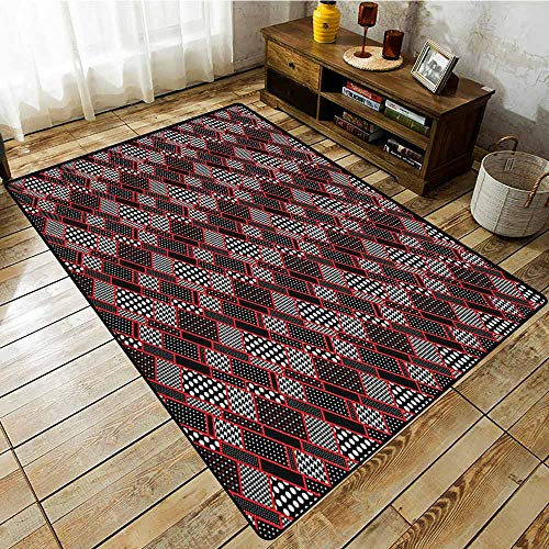 (Living Room Rug,Red and Black,Geometric Rectangle Frames Retro Patterns Polka Dots and Houndstooth,Rustic Home Decor Black White Scarlet)