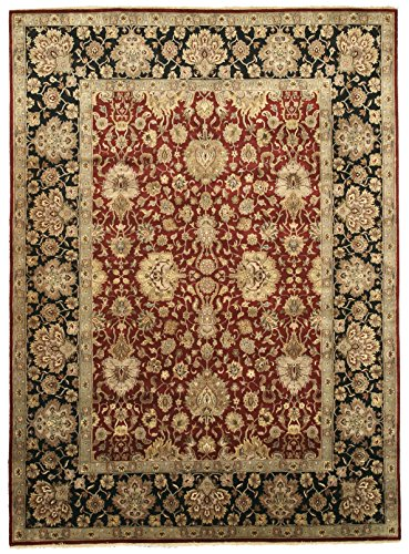 EORC 9181 Hand Knotted Wool Jaipur Rug, 8-Feet 11 by 12-Feet 4-Inch, Red