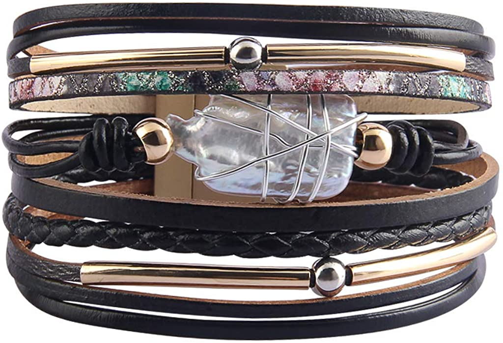 LIANCHI - Pulsera trenzada para mujer - Pulsera de cuero - Perla de cristal - para mujer y niña regalo
