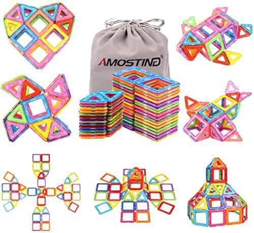 idoot Magnetic Blocks Building Set for Kids, Magnetic Tiles Educational Building Construction Toys for Boys and Girls with Storage Bag - 56pcs