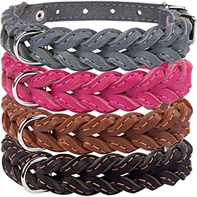 CollarDirect Braided Dog Collar, Genuine Leather Pet Collar Dogs Small Medium Large Black Brown Pink Gray