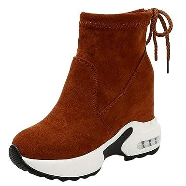 Zapatos de Mujer Sneakers de Mujer Zapatos Individuales Botines Moda Porciones Plataforma Ponerse Deportes Corriendo con Cordones Remache Tacón Oculto ...