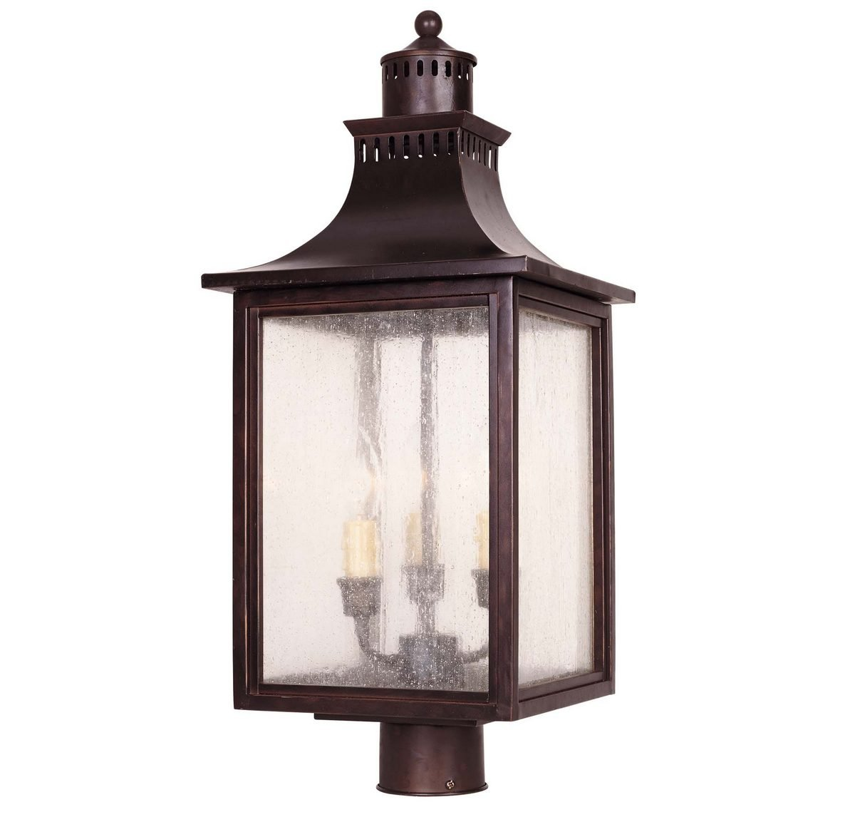 Savoy House Lighting 5-255-13  Monte Grande Collection 3-Light Outdoor Post Mount Lantern, English Bronze Finish with Pale Cream Seeded Glass