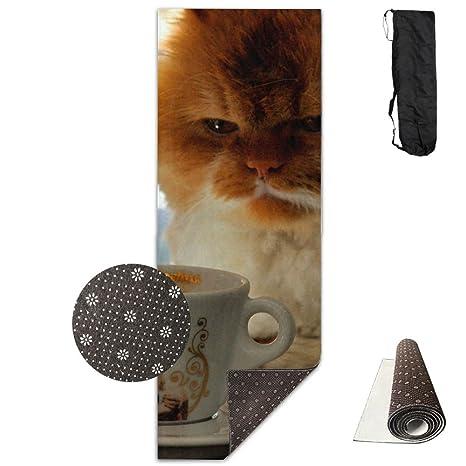 Divertida alfombra de yoga para gatos con diseño de café por la mañana, esterilla de