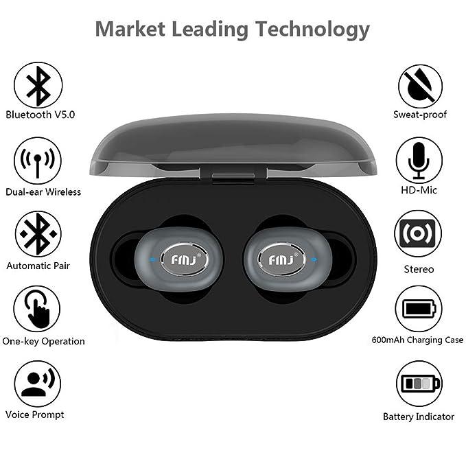 Audífonos Inalámbricos Bluetooth V 5.0 Auriculares Estéreo Ruido Cancelación Sweatproof Auriculares Invisible En El Oído Auricular Con Micrófono Y Caja De ...
