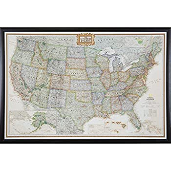 Craig Frames Wayfarer Executive United States Push Pin Travel Map Brazilian Walnut Frame And