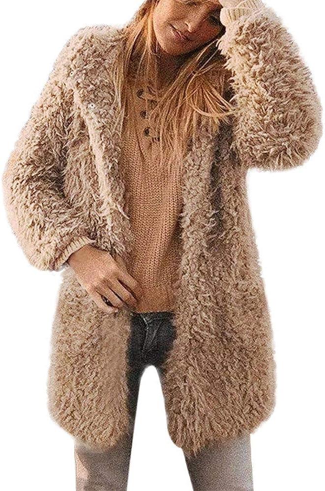 Amzeca Womens Coat Ladies Warm Artificial Wool Jacket Lapel Winter Outerwear