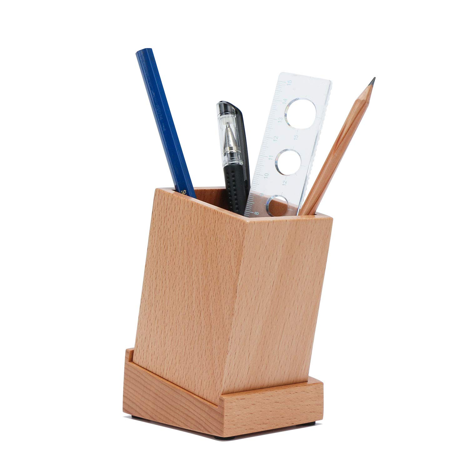 Wood Pencil Holder, Segarty Desktop Storage Organizer Pen Case Pencil Stand Container for School, Office, Home, Birthday Gift