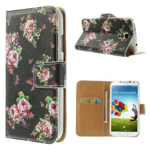 del teléfono celular de la caja de Shell del caso del tirón de negocios Cubierta Samsung Galaxy S4 / GT-I9505 / GT-i9500 / GT-I9515 VE, la galaxia S4 LTE + / GT-I9506 soporte atril flores nero