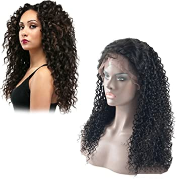 Amazon.com   Dingli Hair Jerry Curl Front Lace Wigs for Black Women 100%  Brazilian Virgin Human Hair Lace Front Wigs with Baby Hair for African  Americans ... 264ad343e