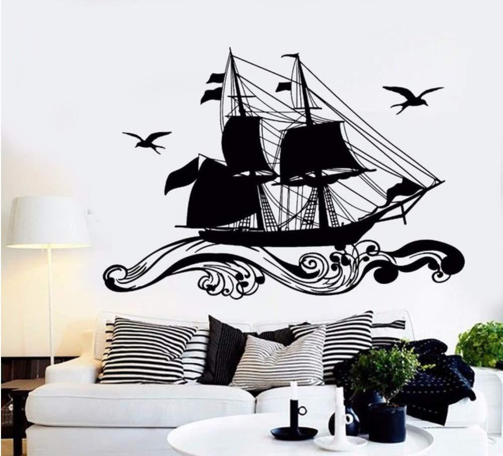 Vinilo Tatuajes de pared Barco del mar Montando olas Gaviotas y el ...