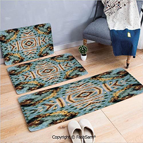 FashSam 3 Piece Non Slip Flannel Door Mat Close Hippie Motif with Maya Clan Figures Dirt Tones Counter Culture Print Indoor Carpet for Bath Kitchen(W15.7xL23.6 by W19.6xL31.5 by W15.7xL39.4) ()