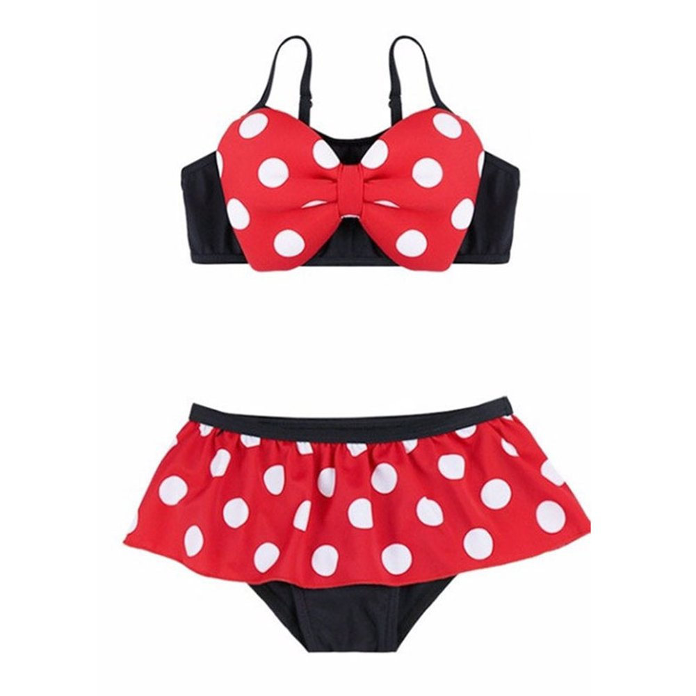 Lemonkids Toddler Kids Girls Minnie Mouse Sham Bowknot Separates Swimsuit