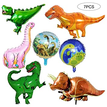 Xiton 7pcs Gigante Foil Dinosaurio Jurásico Globo Fiesta de cumpleaños Mundial Suministros T-Rex Balloon Bouquet Decoración