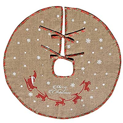 Amajoy Merry Christmas Tree Skirt White Snowflake Burlap Tree Skirt for Xmas Decor Festive Holiday Decoration, 30 Inch in Diameter