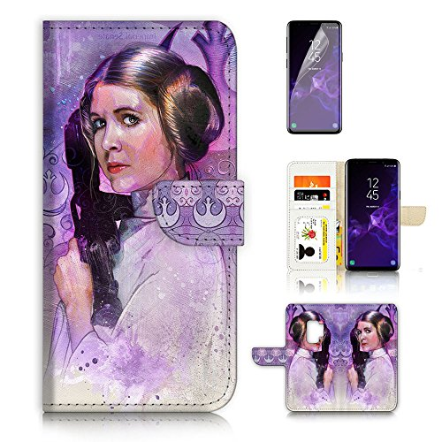 ( For Samsung S9+ / Galaxy S9 Plus ) Flip Wallet Case Cover & Screen Protector Bundle - A21345 Starwars Princess Leia