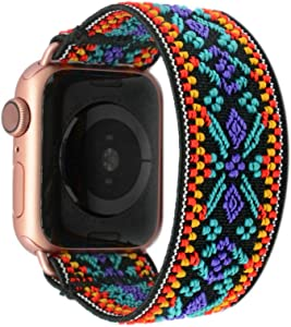 Tefeca Blue Embroidery Ethnic Pattern Elastic Compatible/Replacement Band for Apple Watch 42mm/44mm (Gold Adapters, XL fits Wrist Size : 7.5-8.0 inch)