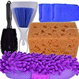 Car Cleaning Brush Set Chenille Wash Sponge Pad Sponge Ultrafine Sponge Tire Brush Office Cleaning Sponge Mat Tool Internal Cleaner Tool Keyboard Air Outlet Vent Cleaning Brush and Dustpan Cleaner Set