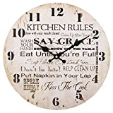 Something Different Wholesale 34 cm Kitchen Rules Clock (6/12), Wood Multicolour, 34x34x0.4 cm