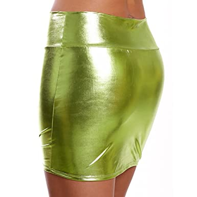 Carol -1 Enger - Mini falda para mujer, piel sintética, cintura ...