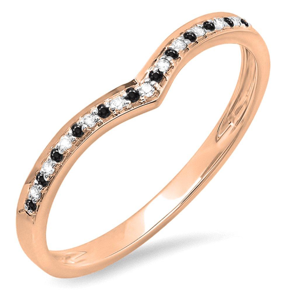 DazzlingRock Collection Femme 0,10 Carat 18K Or Ronde Noir et Blanc Diamant Mariage bandee Garde Anneau 1/10 CT 7 DR2365-1515-18KR
