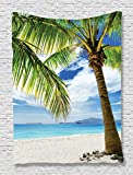 Beach Tapestry Lonely Palm Tree Decor by Ambesonne, Sand Beach Isolated and Philippines Hot Coastline Photos Print, Bedroom Living Kids Girls Boys Room Dorm Accessories Wall Hanging, Blue Ivory