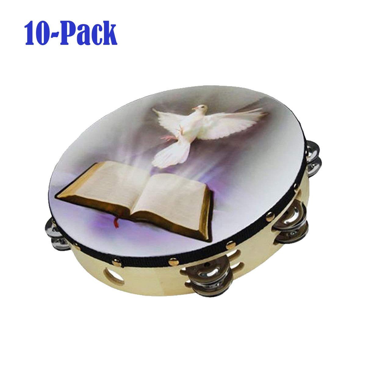 10-Pack 10'' Dove Bible Tambourine Double Row Jingle Percussion Instrument Church