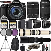 Canon EOS 80D Digital SLR Camera + Canon 18-135mm STM Lens + Canon 75-300mm Lens + 0.43X Wide Angle Lens + 2.2x Telephoto Lens + 650-1300mm Zoom Lens + 500mm Telephoto Lens - International Version