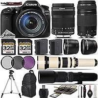 Canon EOS 80D Digital SLR Camera + Canon 18-135mm STM Lens + Canon 75-300mm Lens + 0.43X Wide Angle Lens + 2.2x Telephoto Lens + 650-1300mm Zoom Lens + 500mm Telephoto Lens - International Version