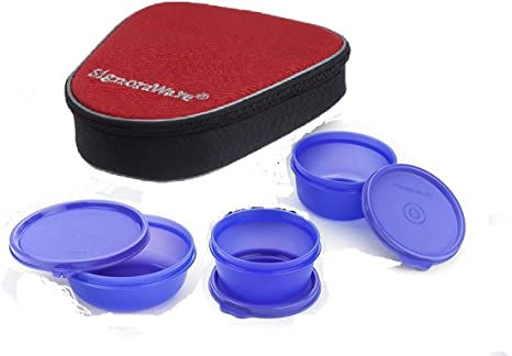 Signoraware Plastic Sleek Lunch with Bag, Violet Lunch Boxes