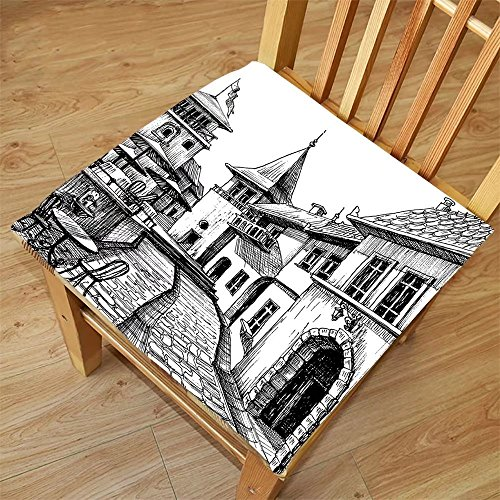 Nalahome Set of 2 Waterproof Cozy Seat Protector Cushion Wanderlust Decor Old Peaceful City Drawing Restaurant Terrace Sketch Downtown Lifestyle Scene Black White Printing Size - Drawing Step Step Sunglasses By
