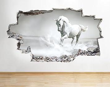 B042 Noir Blanc Cheval Poney Filles Chambre à coucher Sticker mural ...