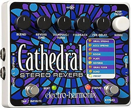 electro-harmonix Cathedral Cathedral Pedal - Pedal de efecto eco/delay/reverb para guitarra, color plateado