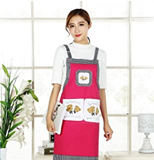 Very Attractive Home Classic Cooking Apron Women Shoulder Strap Apron (Rose) Easyflower